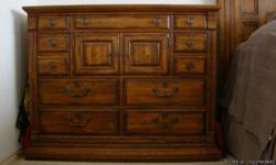 Excellent like new condition. Original price over $13,000.00. Steal for $4500.00. Dressor w/mirror, Gentleman's chest with jewelry drawer, 2 Night Stands, Head/Foot Boards w/side boards. Distressed Wood look.