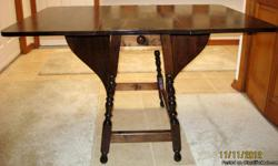 DROP LEAF TABLE MADE FOR JB VAN SCIVER CO., CAMDEN, NJ.  291/2 INCHES HIGH, 351/4 INCHES X 361/2 WHEN OPEN. SOLID WOOD CONSTRUCTION.  VERY GOOD CONDITION.