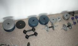 26 Free weights 5 to 20 lbs. Fair condition - Set $90 Dumbell sets of two each. 20lbs - $20, 25lbs - $25, 35lbs - $35, 40lbls - $40. Total set $200. 4 cross bars - $20 Curl Bar - $30
