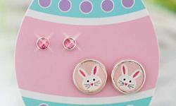 http://littlebitofeverything.club/product/easter-stud-earring-sets This cute Easter Stud Earring Set makes a perfect present for the little girl in your life. Each set gives her two pairs of earrings, one pair with an animal image and the other with a