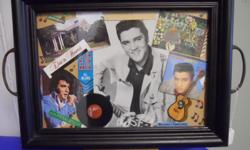 """A hand crafted serving tray w/Elvis Presley memorabilia displayed behind glass. 19""""w X 12 1/2""""h includes handles"""