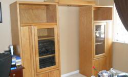 Solid oak entertainment center. Lighting. Adjust to fit t.v. built in racks for cd's and movies, must see. paid $1899.00.00 for it. must go. Also have Italian leather couch $300.00 obo