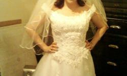 Wedding dress size 14 veil tiara slip n bra...only worn to try on paid 2000 askin 500 firm...will text pics...call -- must sell need power turned on widowed with 2 kids ASAP...plz call