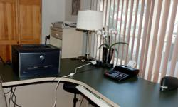 RETIRING!! Horseshoe-shaped executive desk for sale. FastAction (RightAngle Ergonomic Product) pull-out keyboard drawer added to desk and included in price. Desk includes three-drawer cabinet with lock. Additional pull-out drawer added to desk, also