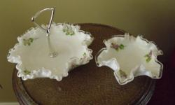 3 Pieces of Fenton Hand Painted and signed Milk Glass, all in mint cond., have been stored for years.