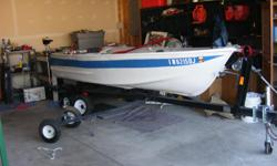 1972 12 foot semi V bottom Ouachita fishing boat and trailer. 2 life jackets a fish finder battie fot the Kota 35 trolling motor. 2 new anchors and 2 100 foot ropes. and 2 oars. The trailer It has 2 new tires and wheels and a spare tire. It has a new