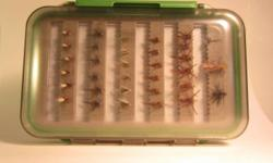 "For Sale!  Brand new waterproof fishing fly box with 66 new trout fishing flies.  6""x4""x2"" Fly box has 2 doors, with slotted foam-rubber strips that can hold over 100 assorted flies.   Included with the fly box are 66 assorted flies, all"