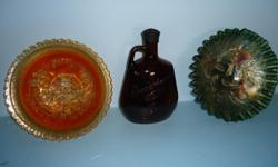 For Sale  orange antique dish with windmill in center $40.00 black bottle$25.00 black dish$ 40.00