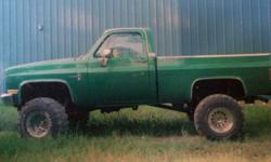 1981 chevy 3/4 ton short box. Has 35.12.50 super swampers on It, Along with some other good stuff. The motor is a 350, It does not run but the truck comes with a another 350. This a must sell, Please call for more info.