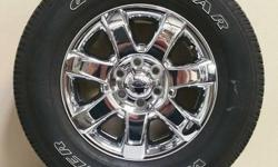 FORD F-150 CHROME WHEELS WITH GOODYEAR WRANGLER 275/65/R18 TIRES!! ((($700)))   ALSO IN STOCK NEW AND USED WHEEL AND TIRE PULL OFFS FOR CHEVY TRUCKS,CAMARO,CORVETTE,FORD TRUCKS,MUSTANG,DODGE RAM,CHARGER,CHALLENGER,JEEP