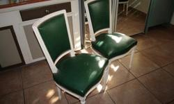 French Dining Chairs -8- with Green seats and white trim. Call Jannette@ 602-622-2739 or Jannette@cox.net to view.