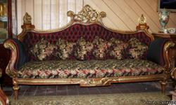French design sofa.. crafted from fine European Beachwood.. hand carved, upholstered with burgundy metalek embroidrey