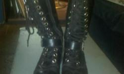 KNEE HIGH LACE UP BOOTS. 2 PAIR DOCS,JUST NEED POLISHING. LEOPARD HEELS, AND LACE UP STILETTOS. ALL SIZE 7. GREAT SHAPE.