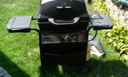 Gas Grill with Tank and Cover 2 burners and a side burner (3) total.
