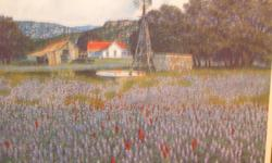 Artist Proof... signed & numbered... no fame or matte.. bluebonnet field with windmill & farmhouse and barn