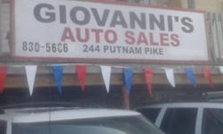 Full time mechanic on duty 7-5 m-friday sales offices 9-5pm mon-friday 830-5606 owner can be reached 486-1066 weekend showing or services UNDER NEW MANAGEMENT 486-1066 GIOVANNIS AUTO SALES 244 PUTNAM PIKE JOHNSTON,02919 WHOLESALE --RETAIL BUY HERE PAY
