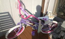 "Girls 20"" bike purple and White like new condition."
