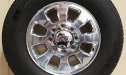 """18"""" GMC POLISHED 2500 WHEELS WITH LT265/70 R18 MICHELIN TIRES THAT ARE IN VERY GOOD SHAPE!!! WHEELS ARE FLAWLESS!!((($750)))  ALSO IN STOCK NEW AND USED WHEEL AND TIRE PULL OFFS FOR CHEVY TRUCKS,CAMARO,CORVETTE,FORD TRUCKS,MUSTANG,DODGE"""