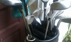 Tees,golf balls,clubs,bag,cleaning brush, glove.