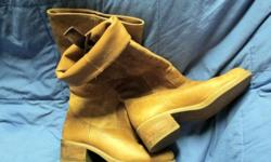 """Great PAir of Boots! They are ashley smith's--bought at Macy's. They have leather uppers. They have wooden heel, they are naturally """"scuffed"""" look-they look western, but are even better! Look great with jeans! Perfect condition! Worn just a few times! No"""