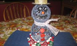 Hand made snowman color blue