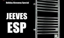 Brand new in sealed box, a Jeeves Model E Towel Warmer in polished chrome with straight rails. I have included a stock photo since the box I have is all white and just says Amaba Products and Jeeves on it. If you would like that pic I will be happy to