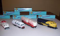 Eight HO Athearn scale train cars and 2 engines with original boxes. Most are around 35-40 years old. Engines do not work but do not know why. No track, just cars. Please call 512-445-2911