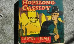 "Hopalong Cassidy 8mm film ""Rustlers Valley"" cicra early to mid 50's. Original box. Near to mint condition. Will make great addition to anyones collection. Great price too! $50.00. If interested please contact me @ () -. PLEASE NO HEARING IMPAIRED PERSONS"