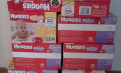 Boxes of Huggies diapers. The number of diapers depends on the size. Retails around $25.00