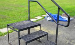 Sturdy metal grated stairs with attached one sided railing Great in winter, no shoveling or salting required!!!! Make me an offer!!! :)