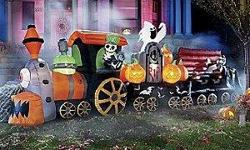 """Get the """"Bound for Gory"""" Animated Airblown Train to make this the best Halloween ever! Click here to see it: http://halloween-inflatables.blogspot.com/p/inflatable-halloween-train.html Features: ? Snarling locomotive lighting the way with its huge"""