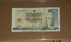 """Jack Nicklaus Five Pound Note Royal Bank of Scotland. Special serial number prefix """"JWN"""". Payment to be via PayPAl. Buyer to pay actual shipping charges. Item may be picked up to avoid shipping charges."""