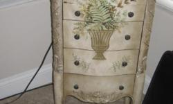 """HANDPAINTED ARMOIRE FOR JEWELRY OR OTHER, 39"""" HIGH BY 19"""" WIDE. GOOD SHAPE BUT NEEDS WORK ON TOP. MUST SEE TO APPRECIATE. CALL MINDY AT 931-503-2222, EMAIL. LIVE BY SOUTHPOINT"""