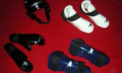 -almost new, -foot pads approx. size 7-11, -head-,hand- and leg pads  approx. from 12 years old up to adult size,