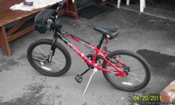 red black red line used 3 years 16 wheels 18inch frame.great for 6years old and up.coasting back brake please leave message