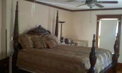 Moving and MUST SELL! Would prefer to sell as a set but will split up if necessary. You will be awed every time you walk into the room. This gorgeous, Queen Ann styled King sized bed has 4 posters that can be tall or short,