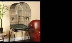 Large and beautiful black bird cage with plenty of room. It can be used as cockatiel cage, but can fit many other types of birds as well. I purchased it and used it for a short time, as I was gifted one right after. This cage includes the stand with