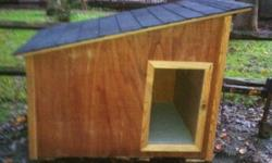 This house is new and hs a removable top for easy cleaning. it is fully insulated and will keep your dog warm in the winter. It is built up off the ground on landscae timbers.