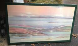 """large painting (laminated on wood). 41"""" high by 65""""wide. green border."""