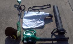 Electric Weedeater. Electric blower/vac with attachments and bag. Good condition. $75.00