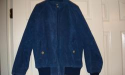 For sale: Med size leather suede jacket - color is blue