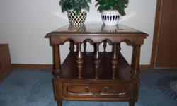 Dark Wood ? Lower shelf with decorative spindles on both ends