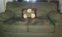 Queen size sofa sleeper, like new, sage green with matching loveseat. conditionof both excellent. Stain resistant material. $450.00 for both  1- Standard 36x80 metal front entrydoor with peep hole, 3 months old, ivory in color