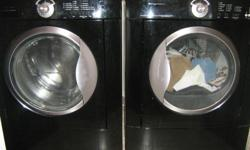 black Frigidare front-loading washer and dryer; 4 years old;