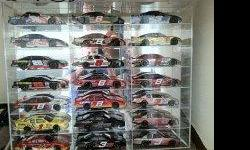 27 NASCAR diecast 1/24 scale collectibles. mostly Dale Earnhart Jr. A few Michael Waltrip, Ken Schrader, Steve park cars including 2002 Dale Jr. Nilla Waffer color chrome. Have boxes for all of them including 21 car plexiglass case. will throw in Dale Jr.