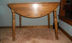 "Like new, table measures 24"" X 36"" with leafs down.  36"" diameter with leafs up.  Seats two with leafs down and four with leafs up.  29"" high.  Located in Manheim."