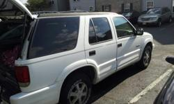 98' Oldsmobile Bravada, white in color. AWD great in snowy weather. very dependable. Interior need some TLC, however the body outside is in great condition.  very well maintenanced. oil & filter changed, tran. flush. , and tune-up recent. like new