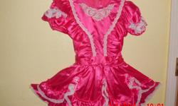 size 10 dark pink with white lace was used as a pageant dress but could also be used as flower girl dress beautiful dress and was a winner