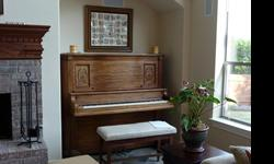 Uprght piano built circa 1800. Recently tuned with refinished wood. Light cherry with mahogany tones. Family piano well cared for. Recently upolstered bench with sheet music storage included. U-haul from Austin area. Call 512-519- 9412 for additional info