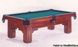 Professional pool table. Gandy georgian solid maple pool table inlaid with abalone and mother of pearl. Includes cues, balls, racks and more. 1 inch matched italian slate has no defects. Original purchase price was 7600.00 in 1996. Has only been moved